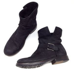 Frye Black Leather Moto Ankle Harness Boots Shoes